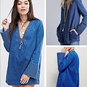 Free people dreaming of denim tunic new S